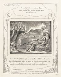 William Blake (British, 1757-1827)    What! Shall we recieve   [sic  ] Good at the hand of God...